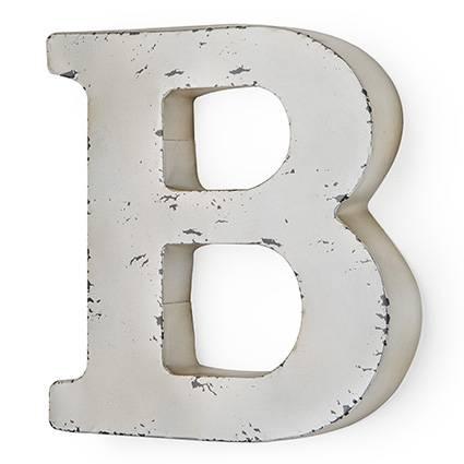 Lettera metallo B bianca