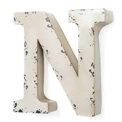 Lettera metallo N bianca