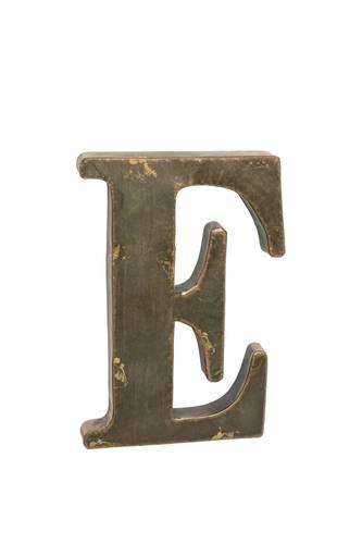 Lettera metallo E bronzo