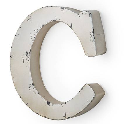 Lettera metallo C bianca