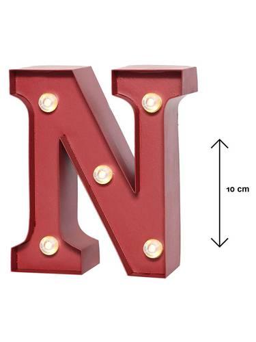 Lettera metallo rossa luminosa N