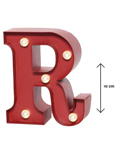 Lettera metallo rossa luminosa R