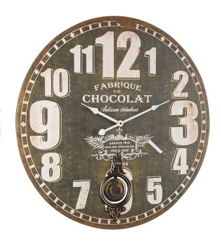 Orologio parete legno chocolat con pendolo cm58