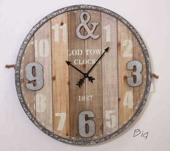 Orologio legno natural Town cm 80