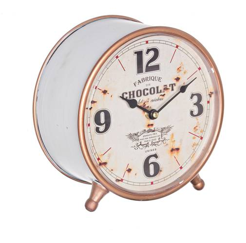Orologio da tavolo metallo bianco chocolat