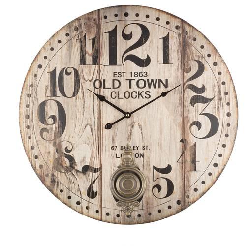 Orologio parete legno con pendolo old town cm58