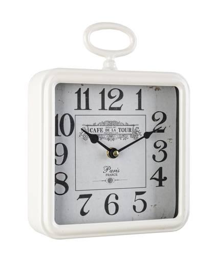 Orologio quadrato metallo bianco Cafe da parete