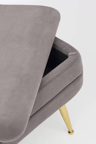 Panca contenitore singola velluto grigio piedi oro
