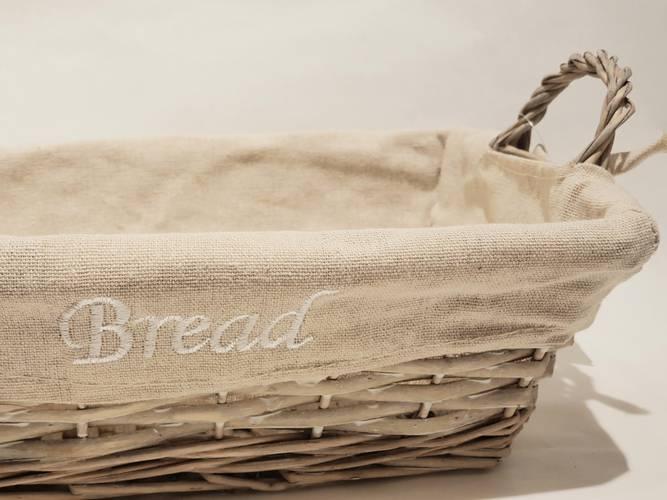 Cestino paniere vimini grigio Bread rettangolare