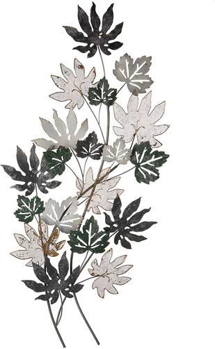 Pannello foglie verdi oro e bianche  in metallo