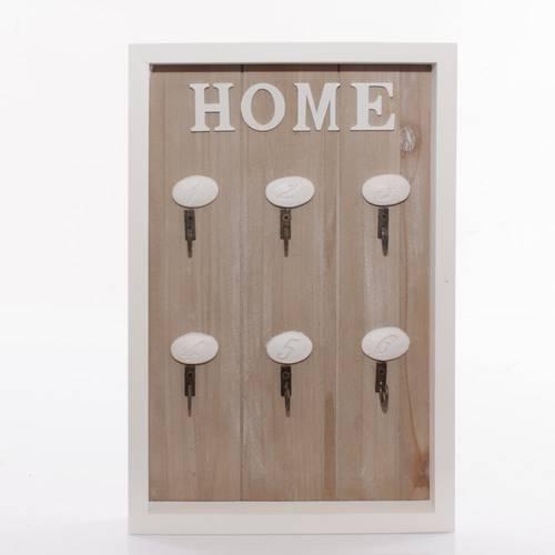 Pannello portachiavi Home legno 6 ganci