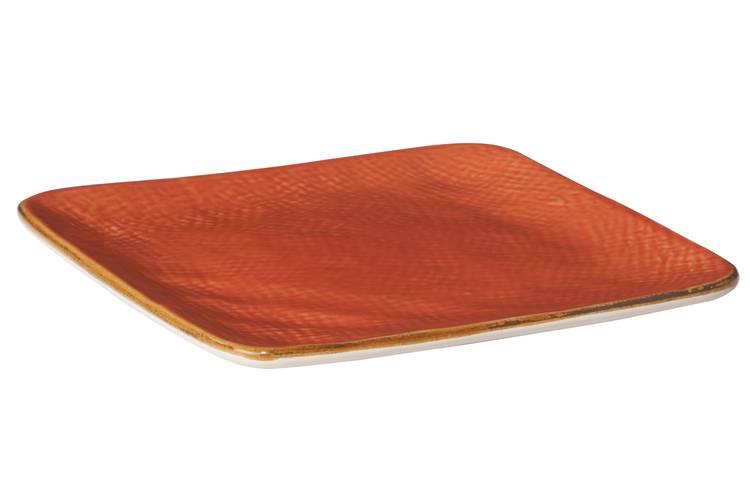 Piattino quadrato arancio porcellana collezione mediterraneo