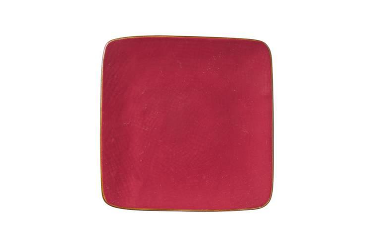 Piattino quadrato rosso porcellana collezione mediterraneo