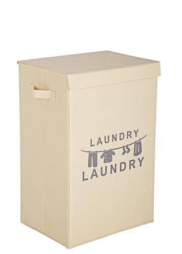 Portabiancheria Laundry tessuto ecru con coperchio
