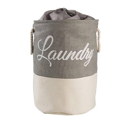 Portabiancheria tessuto tondo laundry sacca con maniglie bianco e grigio