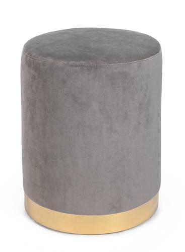 Pouf cilindro velluto grigio fascia oro 40h