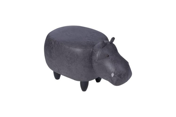 Pouf ippopotamo grigio ecopelle