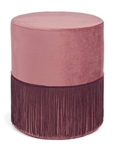 Pouf cilindro velluto rosa antico con frange 38x43h