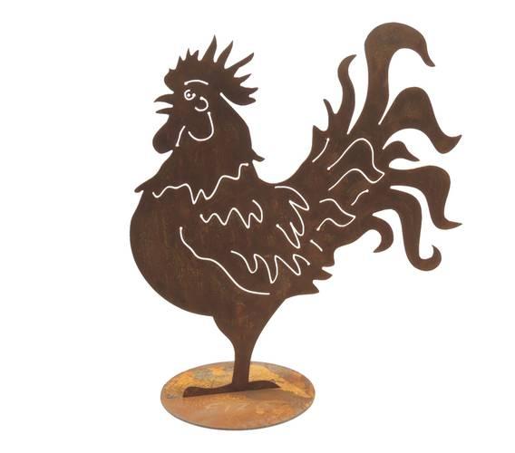 Sagoma gallo ferro ruggine da giardino 50h