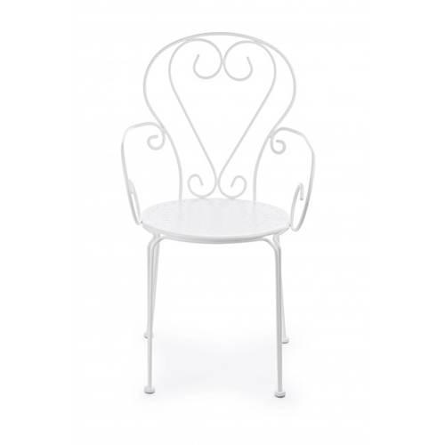 Sedia con braccioli ferro bianco modello romantique