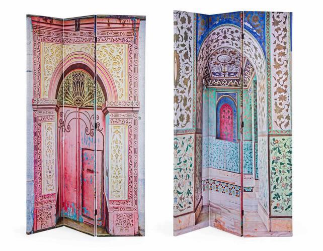 Separè 3 ante tela stampa colorata porta orientale temple