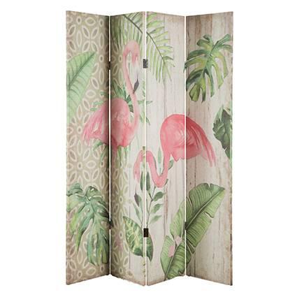Separè flamingo 4 ante tela lino stampa fenicottero rosa e foglie verdi