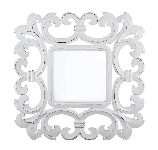 Specchio intarsi legno bianco 70x70