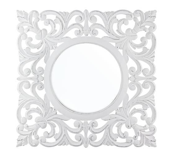 Specchio intarsi legno bianco 80x80