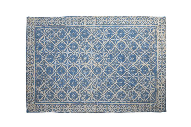 Tappeto cotone azzurro decoro beige vintage 120x180
