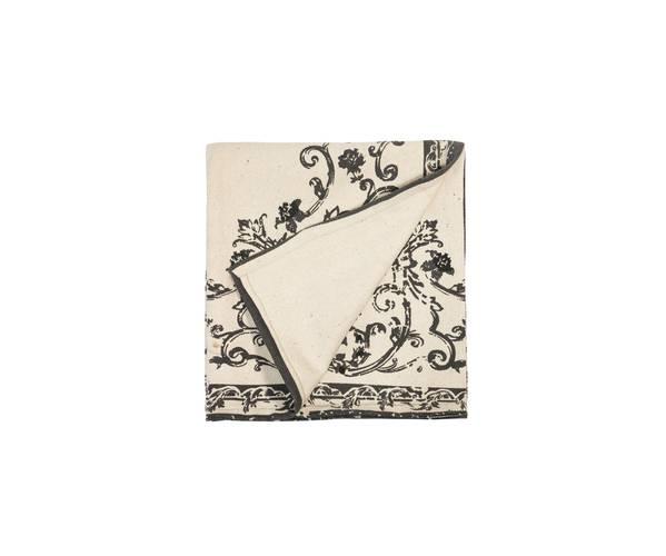 Tappeto cotone disegno vintage arabesque nero 120x180