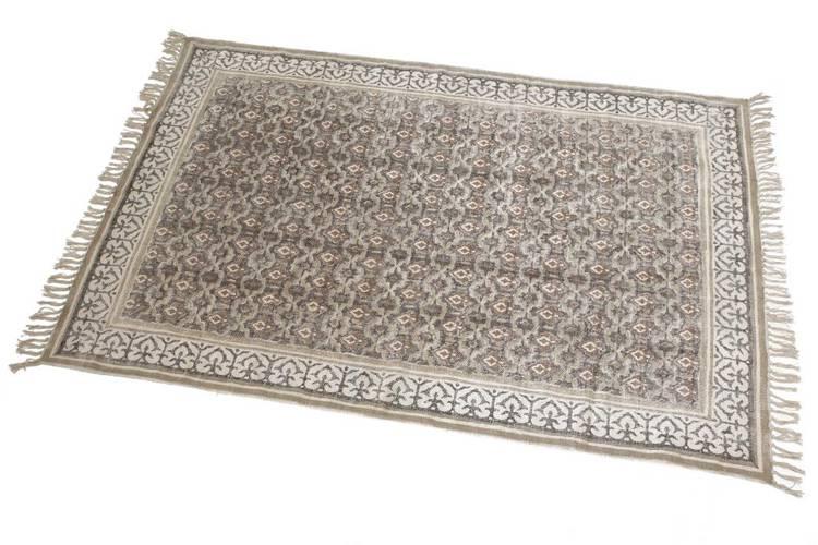 Tappeto cotone ecrù stampa rocchetto 120x180