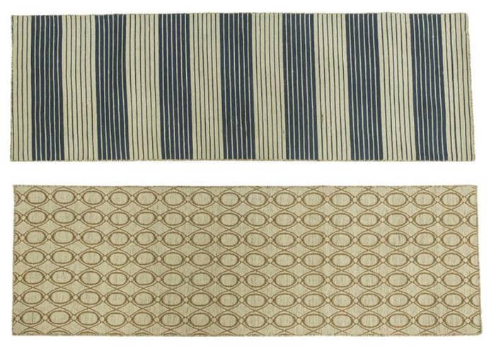 Tappeto lana passatoia geometrie ecru' 70x200