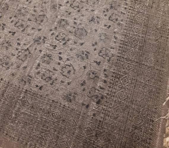 Tappeto cotone grigio stampa fiori 120x180