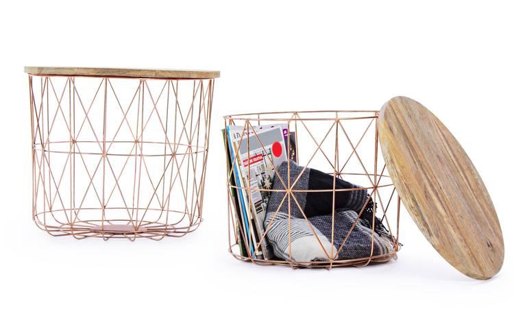 Tavolino contenitore legno e rame