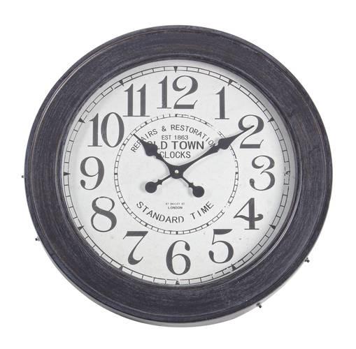Tavolino metallo nero tondo con orologio da salotto