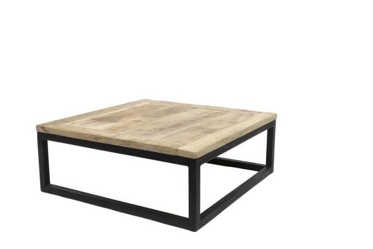 Tavolino salotto quadrato industrial legno e ferro