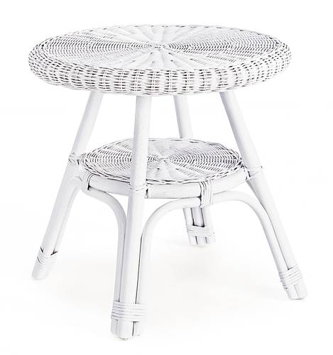 Tavolino rattan e midollino bianco