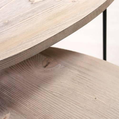 Coppia tavolini triangolo legno abete spazzolato e metallo