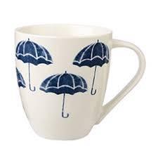 Mug bianca ombrelli blu