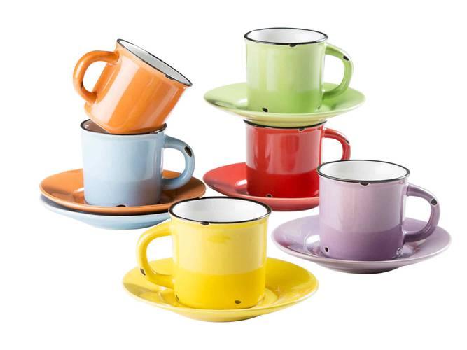 Tazzina caffè colorata smaltata con piatto set 6