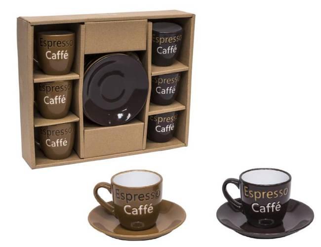 Set 6 tazzine caffè Espresso beige-marrone
