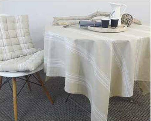 Tovaglia cotone plastificato ecru riga bianca