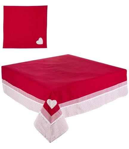 Tovaglia cotone rossa con pois 145x270