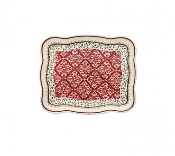 Vassoietto Cantico rettangolare porcellana decori rossi