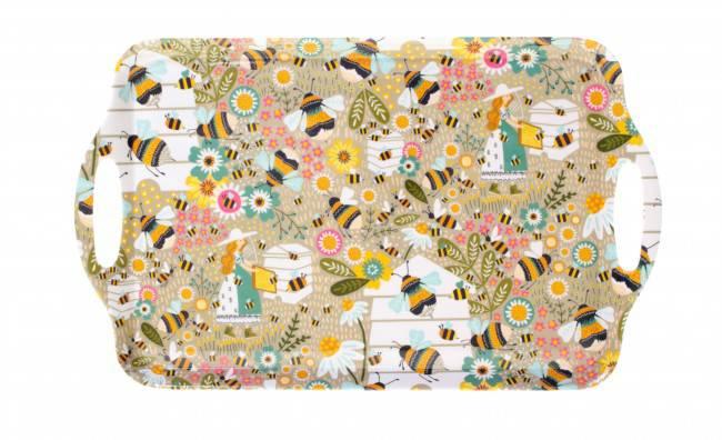 Vassoio melamina api e fiori  48x30