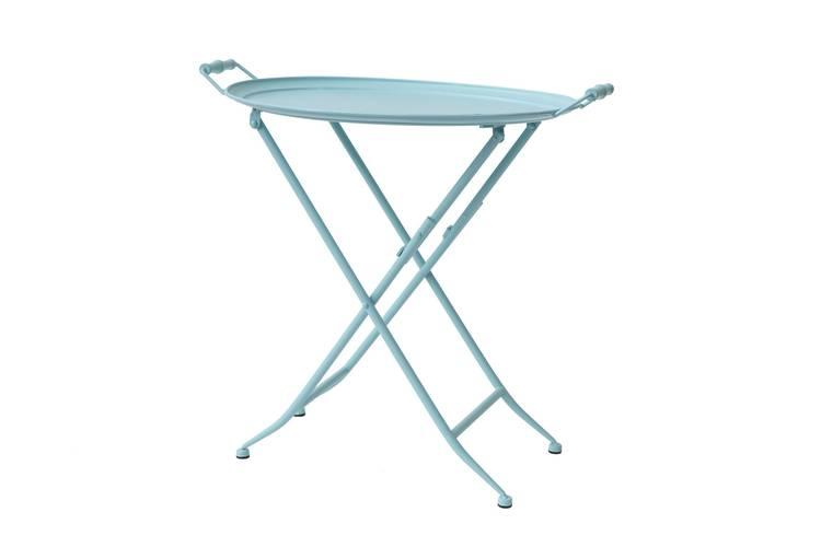 Tavolino vassoio pieghevole metallo azzurro